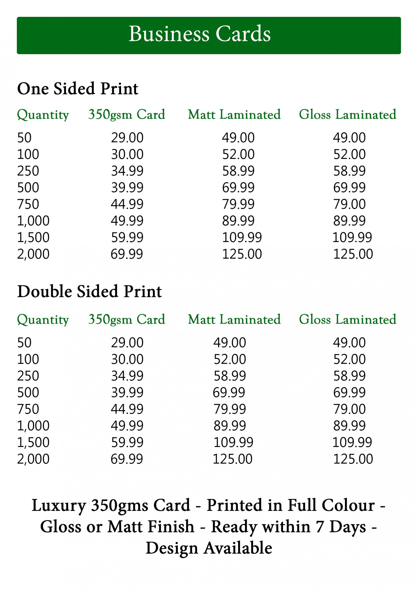 Prices for Average cost of business cards